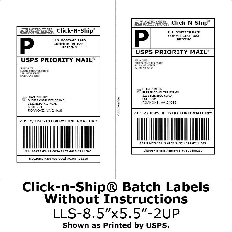 blank labels for click n ship no more taping on postage burris computer forms. Black Bedroom Furniture Sets. Home Design Ideas