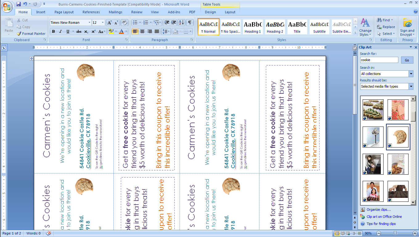 how to make a postcard in word