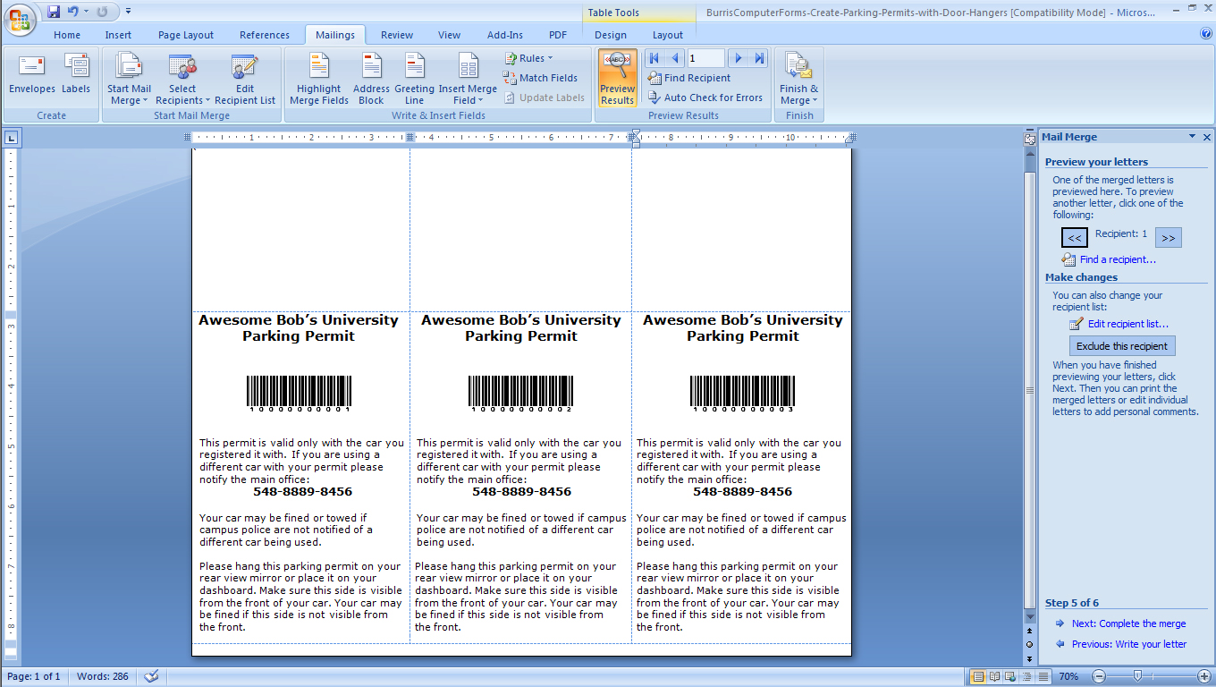 DHPP Step 3b Design Your Parking Permits In Microsoft Word