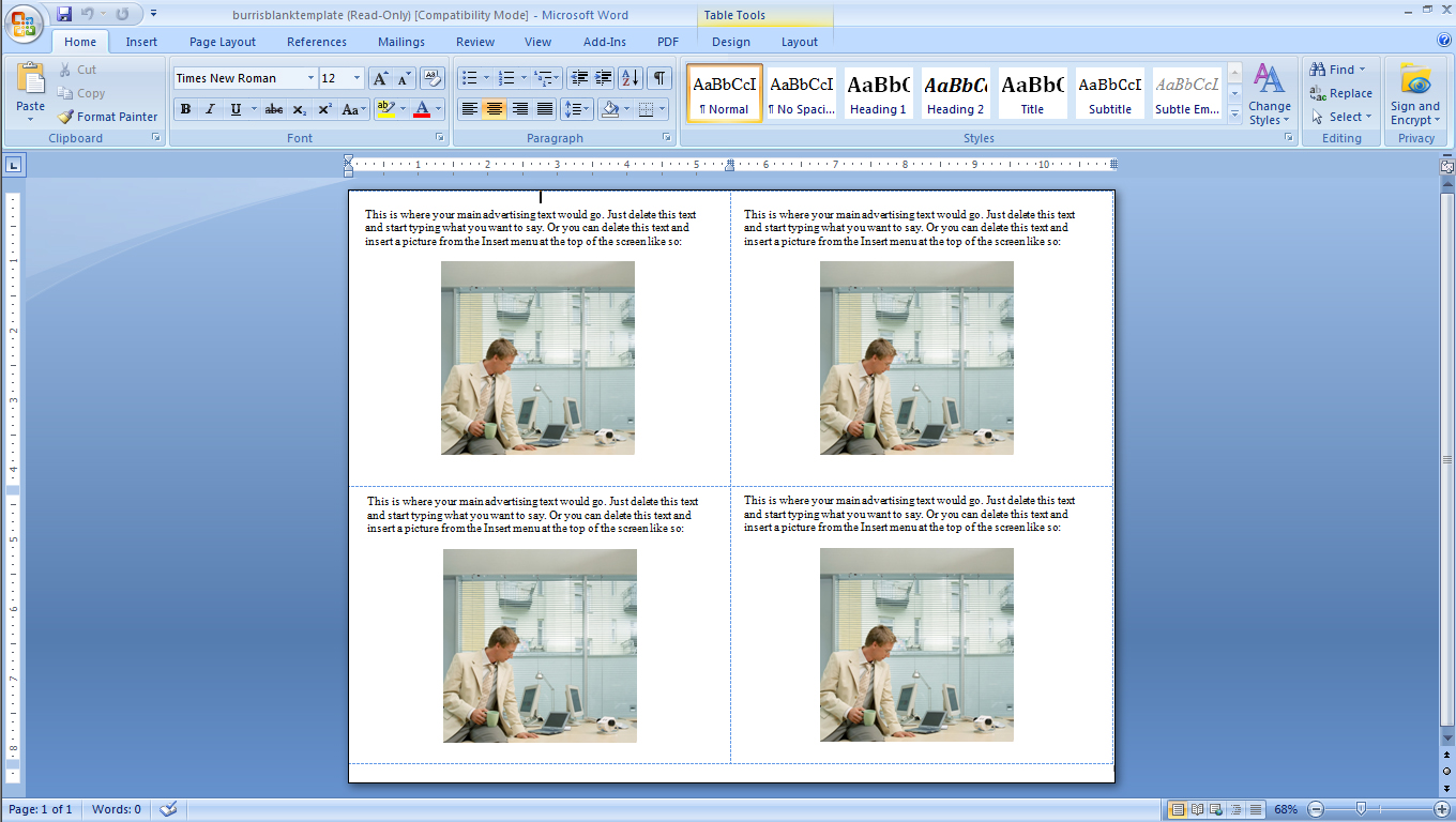 How to make four postcards on the same sheet in word for Microsoft word 4x6 postcard template