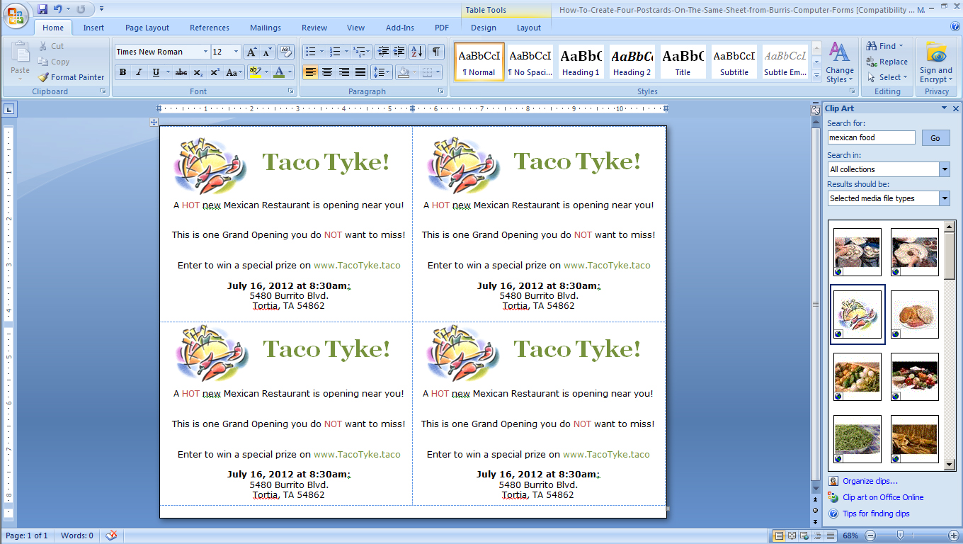 How To Make Four Postcards On The Same Sheet in Word Burris – Free Postcard Templates Microsoft Word