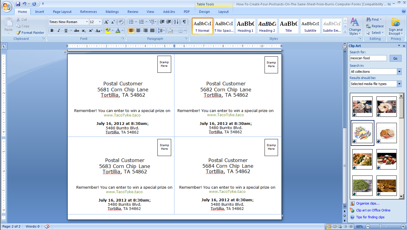 How To Make Four Postcards On The Same Sheet In Word