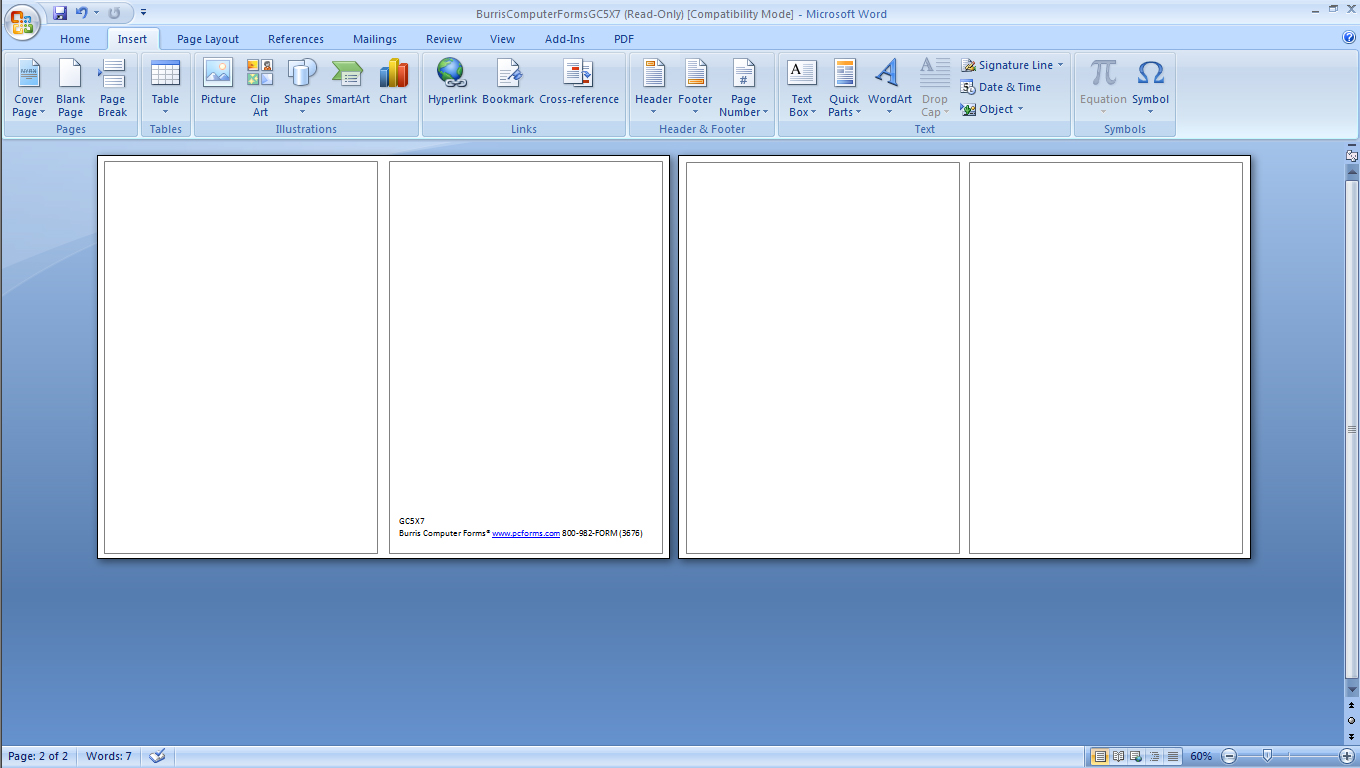 Printing note cards in word zrom accmission