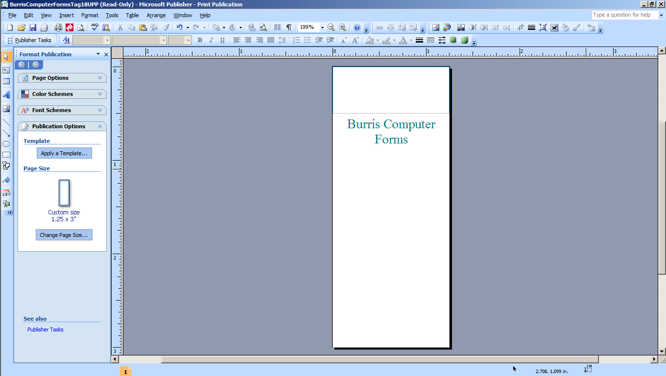 KT Step 2a Open the key tag template in Microsoft Publisher