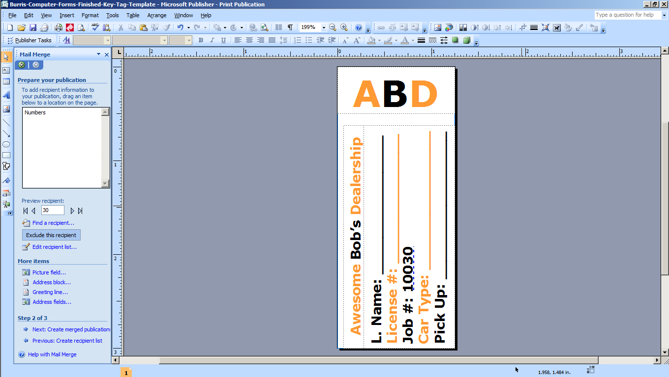KT Step 3a Design your own key tags for dealerships