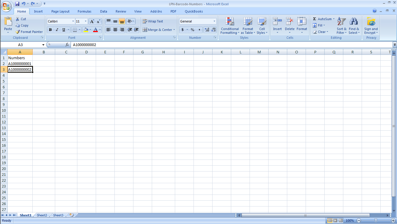 LPNB Step 1a Insert first barcode number into excel