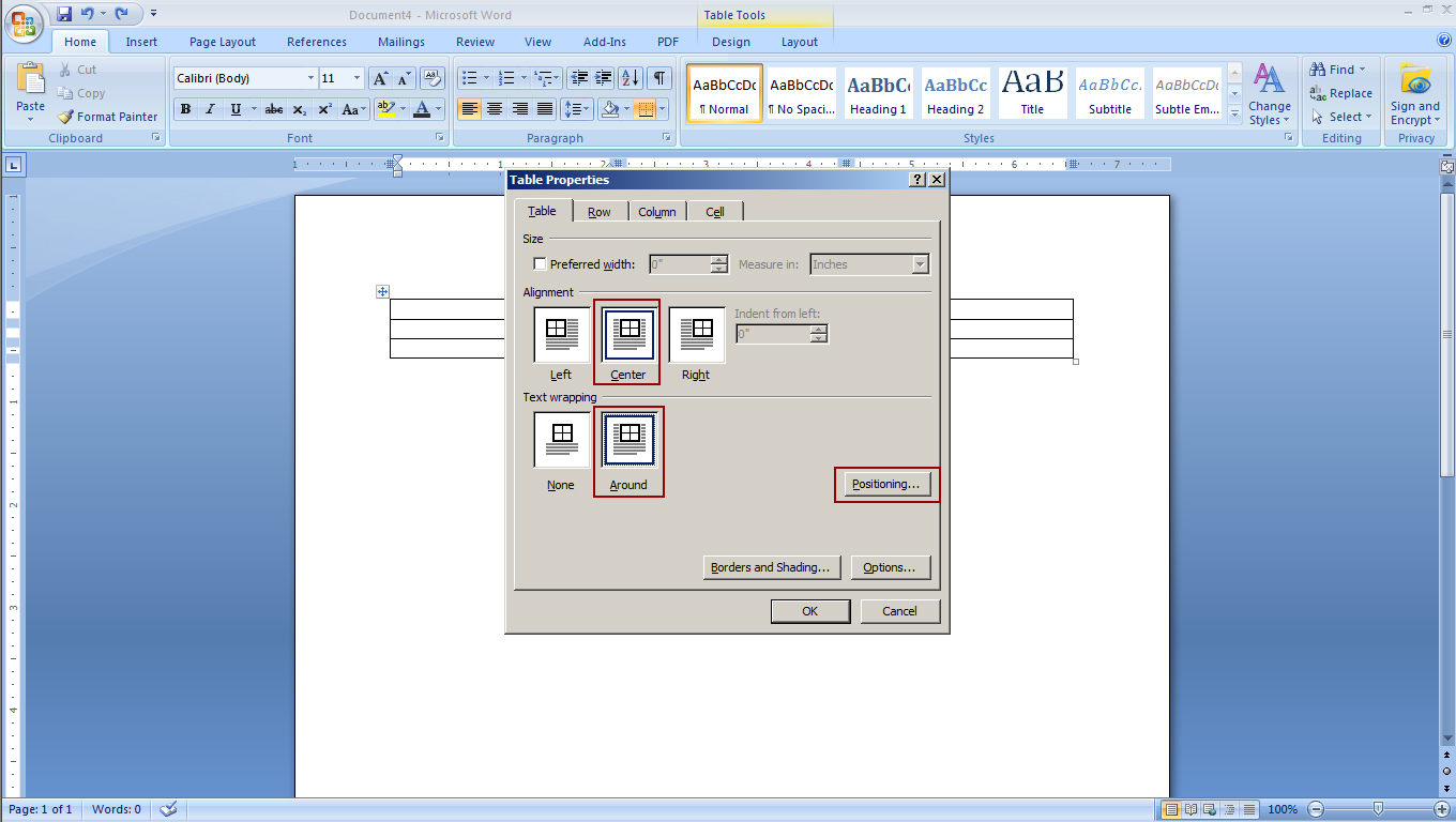 LPNB Step 2c In Table Properties change the Text Wrapping to Around then click Properties