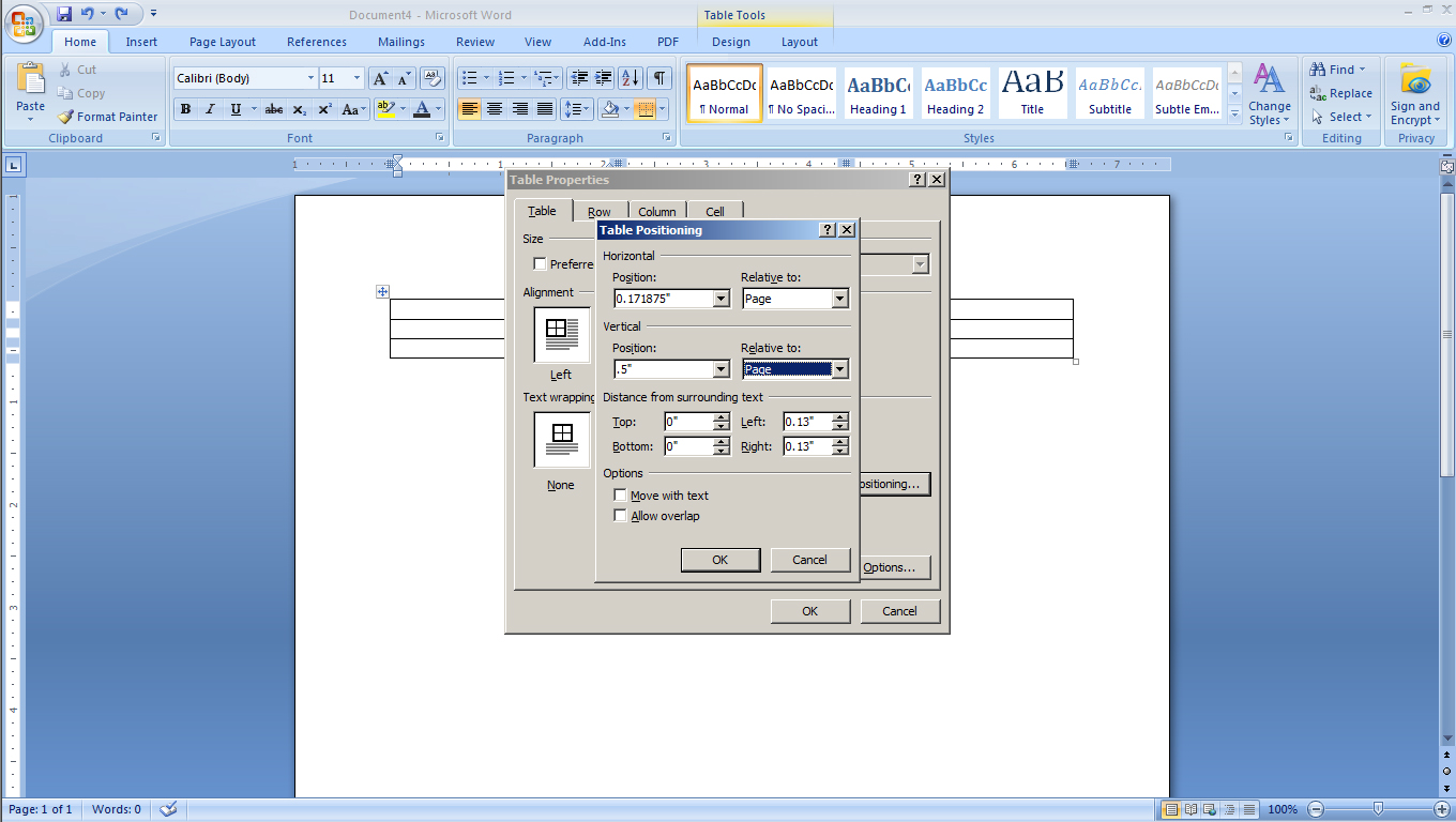 LPNB Step 2d Edit table positioning to line up with your label layout