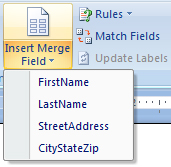 MM 3a Insert merged fields into Microsoft Word