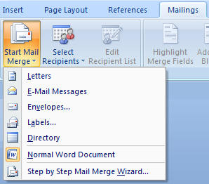 MM How to start a mail merge in Microsoft Word
