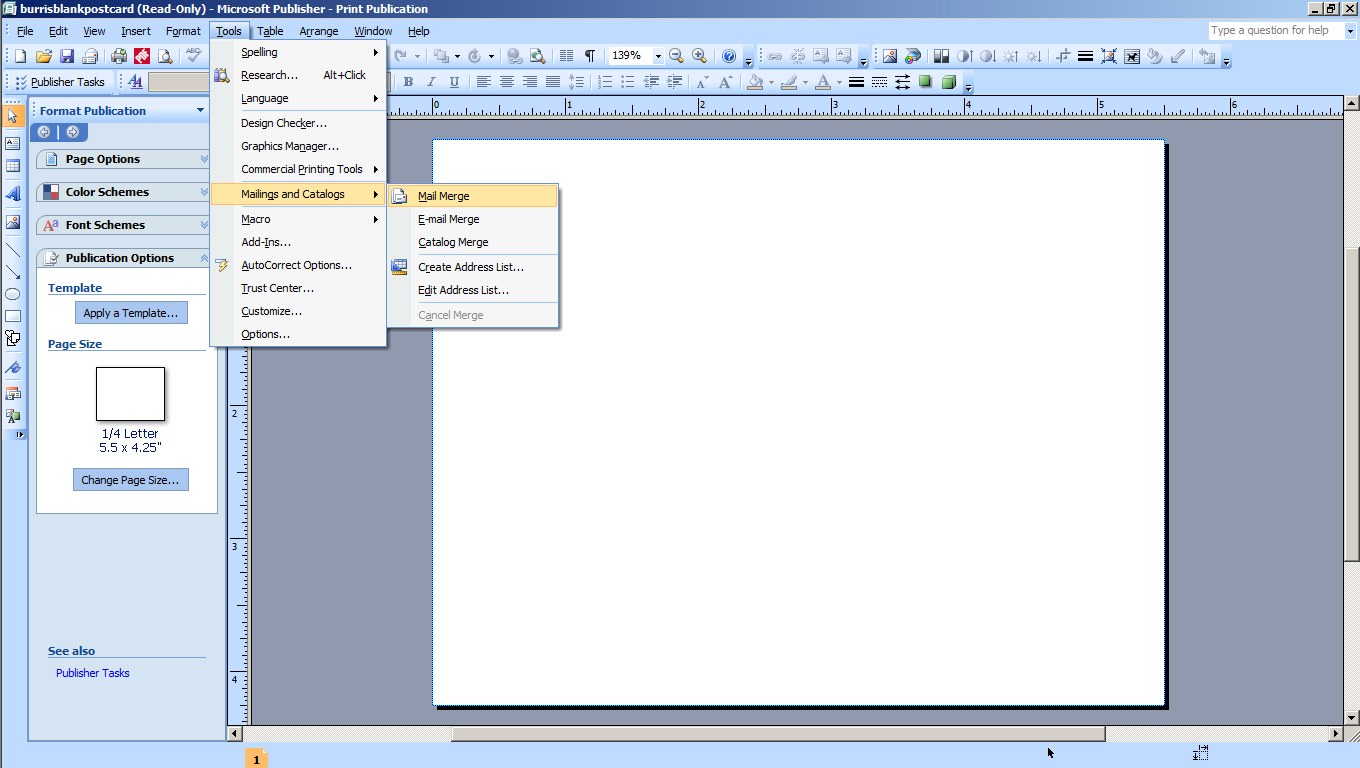 MM4K step 3a In Microsoft Publisher Select Tools Then Mailings and Catalogs Then Mail Merge to start the Mail Merge