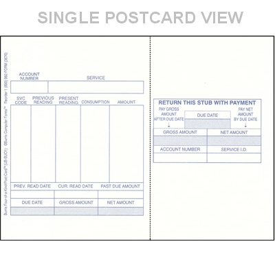 Preprinted Blank Utility Bills | Blank Postcard Stock | Blank ...