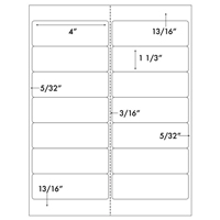 Label 14UP 4&#34 x 1 1/3&#34 with 1 vertical perf  Template for Microsoft Word