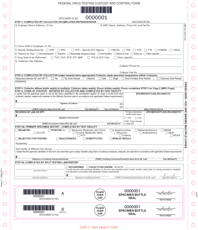 Random Drug Test Form Chain Of Custody 5 Part