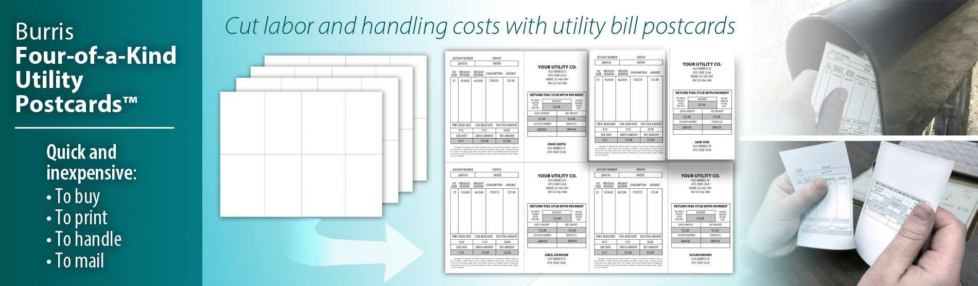 Utility Bill Postcards | Perforated Postcards | Tear-Away